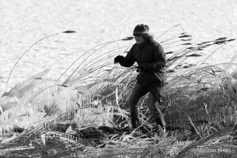 Album foto op glad ijs begeven uit het fotoalbum Mensen